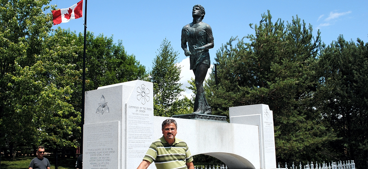 At the Terry Fox memorial in Thunder Bay, Ont. 30 years later