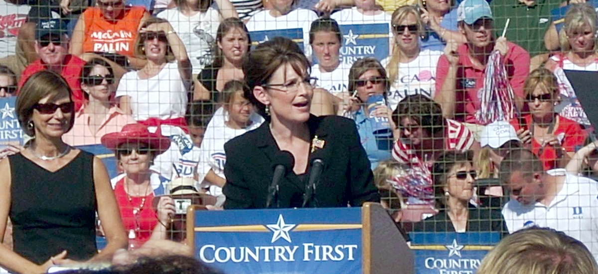 Sarah Palin speaks at a campaign rally at Elon University in North Carolina in 2008